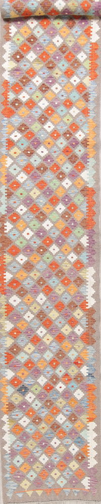 Color-full Geometric Turkish Kilim Runner Rug Wool 3x18