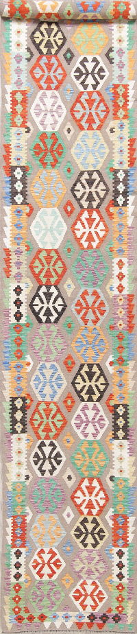 Color-full Geometric Turkish Kilim Runner Rug Wool 3x19
