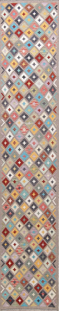 Flat-Weave Kilim Turkish Runner Rug Wool 2x13