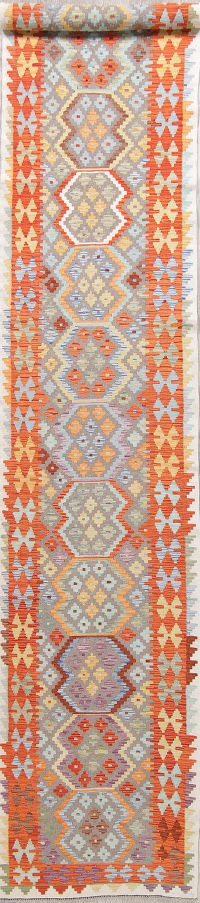 Modern Flat-Weave Turkish Kilim Runner Rug 3x16