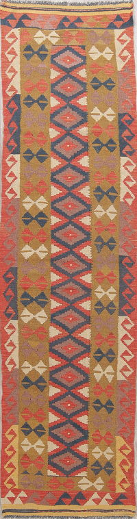 Color-full Geometric Turkish Kilim Runner Rug Wool 3x10