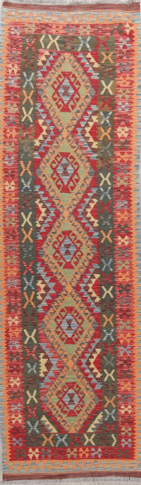 Color-full Geometric Turkish Kilim Runner Rug Wool 3x9