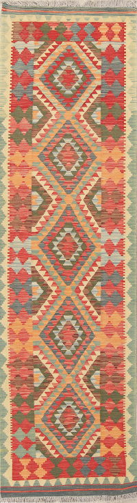 Flat-Weave Kilim Turkish Runner Rug Wool 3x10