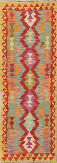 Modern Flat-Weave Turkish Kilim Runner Rug 2x6