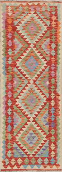 Color-full Geometric Turkish Kilim Runner Rug Wool 2x6