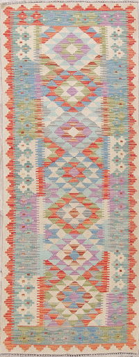 Flat-Weave Kilim Turkish Runner Rug Wool 3x7