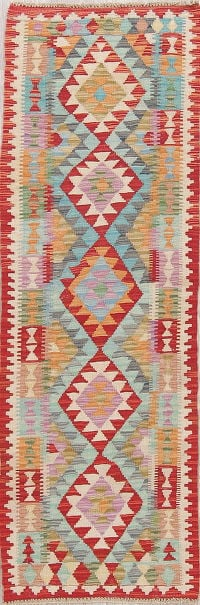 Flat-Weave Kilim Turkish Runner Rug Wool 2x6
