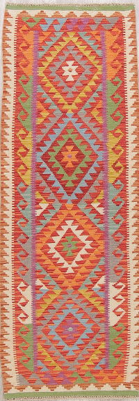 Flat-Weave Kilim Turkish Runner Rug Wool 2x7