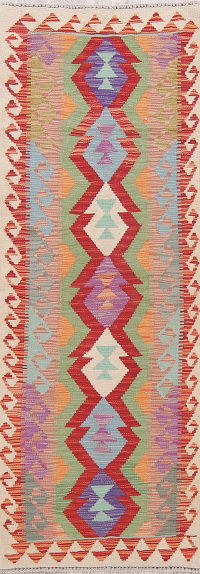 Modern Flat-Weave Turkish Kilim Runner Rug 2x7