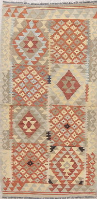 Modern Flat-Weave Turkish Kilim Runner Rug 3x7