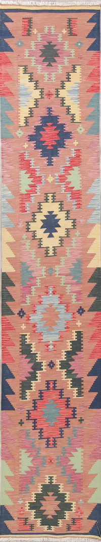 Color-full Geometric Turkish Kilim Runner Rug Wool 3x14