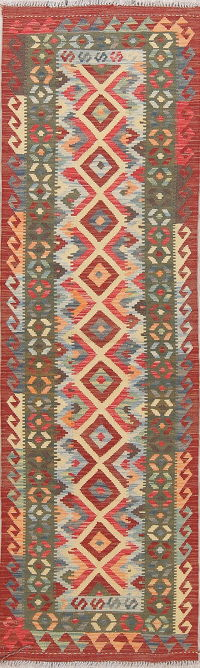 Modern Flat-Weave Turkish Kilim Runner Rug 3x8