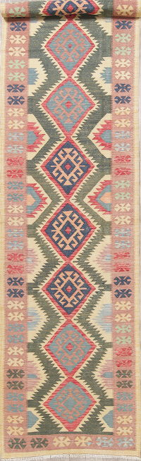 Modern Flat-Weave Turkish Kilim Runner Rug 4x18
