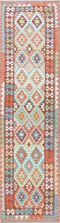 Modern Flat-Weave Turkish Kilim Runner Rug 3x10