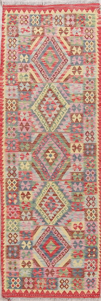 Color-full Geometric Turkish Kilim Runner Rug Wool 3x8