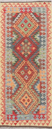 Color-full Geometric Turkish Kilim Runner Rug Wool 3x6