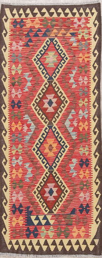 Color-full Geometric Turkish Kilim Runner Rug Wool 3x7