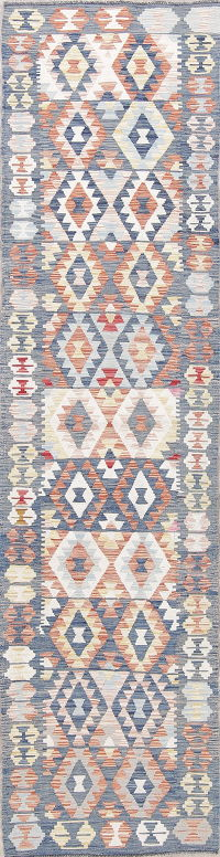 Flat-Weave Kilim Turkish Runner Rug Wool 2x9