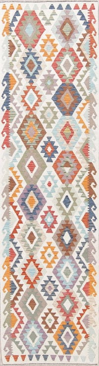Flat-Weave Kilim Turkish Runner Rug Wool 3x9