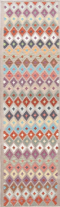 Modern Flat-Weave Turkish Kilim Runner Rug 3x9