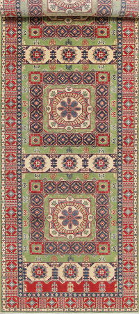 Geometric Kazak Pakistan Wool Rug 5x19 Runner