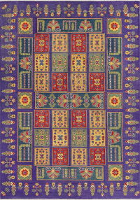Garden Design Purple Kazak Pakistan Wool Rug 6x9