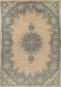 Palace Size Muted Kerman Persian Wool Rug 11x17