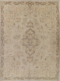 Muted Distressed Kashan Persian Rug 10x13