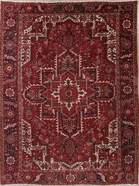 Red Geometric Heriz Persian Wool Rug 10x13
