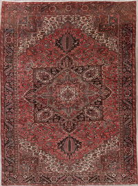 Geometric Red Heriz Persian Wool Rug 10x13