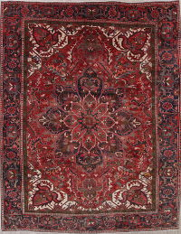 Geometric Red Heriz Persian 10x12 Wool Rug