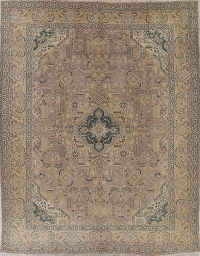 Tabriz Muted Distressed Persian Rug 10x13