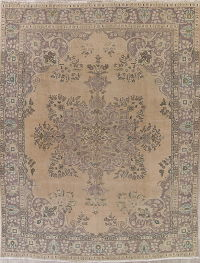 Floral Tabriz Muted Distressed Persian Area Rug 9x12