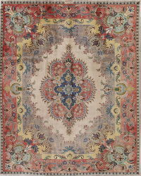 Tabriz Ivory Silver Distressed Persian Area Rug 10x13