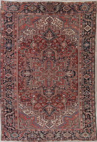 Red Geometric Heriz Persian Wool Rug 8x12