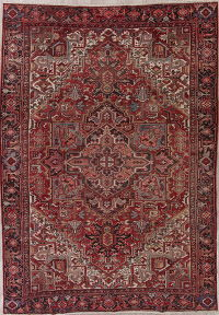 Antique Red Heriz Persian Wool Rug 8x11