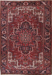 Red Heriz Persian Wool Rug 8x11