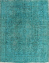 Over-Dye Blue Tabriz Muted Distressed Rug 9x12