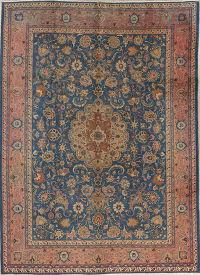 Blue Tabriz Persian Wool Rug 8x11