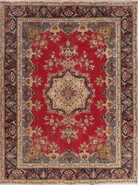 Floral Red Tabriz Persian Wool Rug 8x11