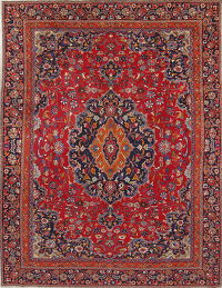 Traditional Red Mashad Persian Wool Rug 9x12