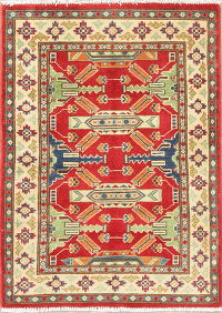 Red Geometric Kazak Pakistan Wool Rug 3x4
