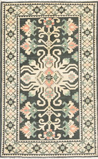 Black Geometric Kazak Pakistan Wool Rug 3x4