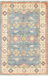 Light Blue Geometric Kazak Pakistan Wool Rug 3x4