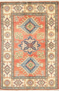 Coral Red Geometric Kazak Pakistan Wool Rug 3x4