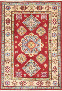 Geometric Red Kazak Pakistan Wool Rug 3x4