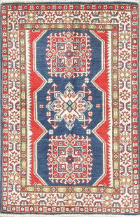 Geometric Blue Kazak Pakistan Wool Rug 3x4