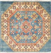 Geometric Kazak Pakistan Wool Rug 3x3 Square