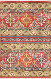 Multi-Color Kazak-Chechen Oriental Rug 3x4