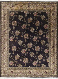 Purple Floral Agra Indian Oriental Wool Rug 9x12